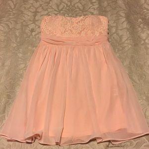 Pink strapless chiffon babydoll dress